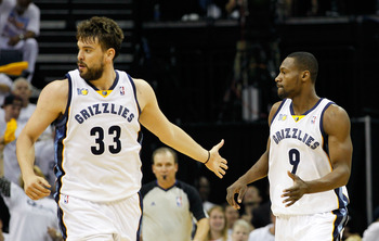 MEMPHIS, TN - MAY 13:  Marc Gasol #33 reacts after Tony Allen #9 of the Memphis Grizzlies made a three-point basket against the Oklahoma City Thunder in Game Six of the Western Conference Semifinals in the 2011 NBA Playoffs at FedExForum on May 13, 2011 i
