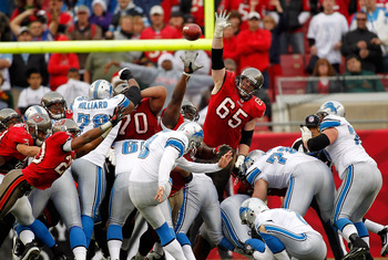TAMPA, FL - DECEMBER 19:  Kicker Dave Rayner #3 of the Detroit Lions kicks the winning field goal in overtime against the Tampa Bay Buccaneers during the game at Raymond James Stadium on December 19, 2010 in Tampa, Florida.  (Photo by J. Meric/Getty Image