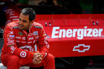 DOVER, DE - MAY 13:  Juan Pablo Montoya, driver of the #42 Target Chevrolet, sits in the garage area during practice for the NASCAR Sprint Cup Series FedEx 400 Benefiting Autism Speaks at Dover International Speedway on May 13, 2011 in Dover, Delaware.  (