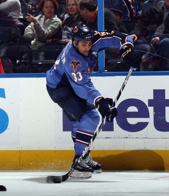ATLANTA, GA - MARCH 27:  Dustin Byfuglien #33 of the Atlanta Thrashers skates against the Ottawa Senators at the Philips Arena on March 27, 2011 in Atlanta, Georgia. The Thrashers defeated the 5-4 in the shoot out.  (Photo by Bruce Bennett/Getty Images)