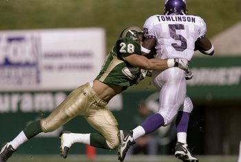 24 Oct 1998:  Defensive back Eric Olson #28 of the Colorado State Rams in action against tailback LaDainian Tomlinson #5 of the TCU Horned Frogs during the game at the Hughes Stadium in Fort Collins, Colorado. The Rams defeated the Horned Frogs 42-21. Man