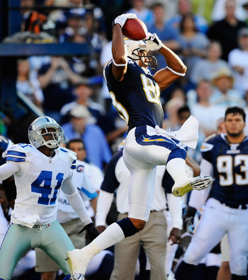 SAN DIEGO - AUGUST 21:  Wide receiver Malcolm Floyd #80 of the San Diego Chargers catches a pass against Terence Newman #41 of the Dallas Cowboys during their pre-season NFL football game at Qualcomm Stadium on August 21, 2010 in San Diego, California.  (
