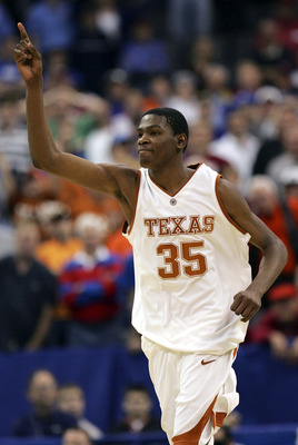 OKLAHOMA CITY - MARCH 09:  Guard Kevin Durant #35 of the Texas Longhorns reacts during a 74-69 win against the Baylor Bears during the quarterfinals of the Phillips 66 Big 12 Men's Basketball Championship on March 9, 2007 at the  Ford Center in Oklahoma C