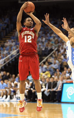 CHAPEL HILL, NC - FEBRUARY 27:  Terrell Stoglin #12 of the Maryland Terrapins shoots the ball over Kendall Marshall #5 of the North Carolina Tar Heels during their game at the Dean E. Smith Center on February 27, 2011 in Chapel Hill, North Carolina.  (Pho