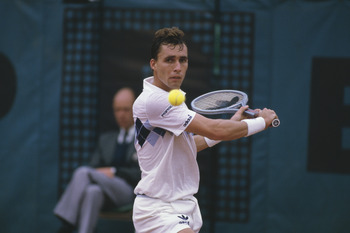 Tennis player Ivan Lendl wins the Men's Singles title at the 1984 French Open in Paris. (Photo by Steve Powell/Getty Images)