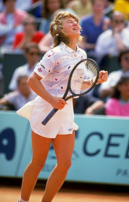 May-Jun 1987:  Steffi Graf of West Germany celebrates during the French Open at Roland Garros in Paris.  \ Mandatory Credit: Chris  Cole/Allsport