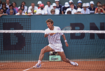 Swedish tennis player Mats Wilander competes in the Men's Singles of the 1983 French Open. (Photo by Steve Powell/Getty Images)