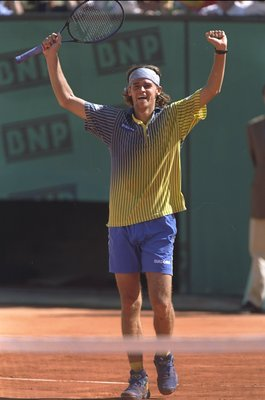 8 Jun 1997:  Gustavo Kuerten of Brazil celebrates after victory against Sergi Bruguera of Spain in the French Open at Roland Garros Stadium in Paris, France.  \ Mandatory Credit: Mike Hewitt /Allsport