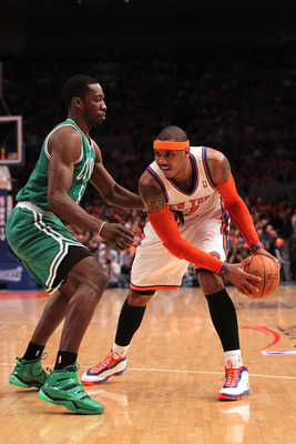 NEW YORK, NY - APRIL 24:  Carmelo Anthony #7 of the New York Knicks looks to pass against Jeff Green #8 of the Boston Celtics in Game Four of the Eastern Conference Quarterfinals during the 2011 NBA Playoffs on April 24, 2011 at Madison Square Garden in N