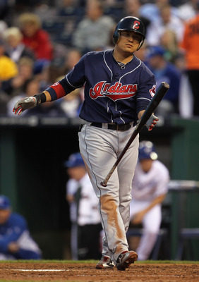 KANSAS CITY, MO - MAY 16:  Shin-Soo Choo #17 of the Cleveland Indians catches his bat after a strike during the 4th inning of the game against the Kansas City Royals on May 16, 2011 at Kauffman Stadium in Kansas City, Missouri.  (Photo by Jamie Squire/Get