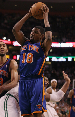 BOSTON, MA - APRIL 19:  Roger Mason #18 of the New York Knicks takes a shot in the fourth quarter against the Boston Celtics in Game Two of the Eastern Conference Quarterfinals in the 2011 NBA Playoffs on April 19, 2011 at the TD Garden in Boston, Massach
