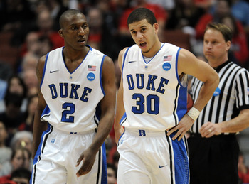 ANAHEIM, CA - MARCH 24:  Nolan Smith #2 and Seth Curry #30 of the Duke Blue Devils look on against the Arizona Wildcats during the west regional semifinal of the 2011 NCAA men's basketball tournament at the Honda Center on March 24, 2011 in Anaheim, Calif