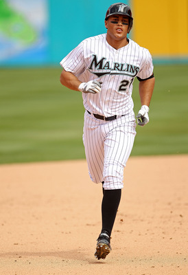 MIAMI GARDENS, FL - APRIL 24:  Mike Stanton #27 of the Florida Marlins hits a 3 run HR during a game against the Colorado Rockies at Sun Life Stadium on April 24, 2011 in Miami Gardens, Florida.  (Photo by Mike Ehrmann/Getty Images)