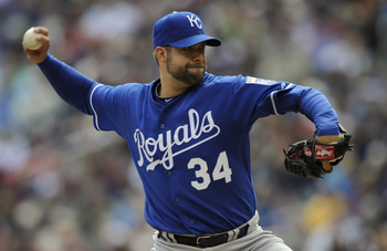 MINNEAPOLIS, MN - APRIL 13:  Kyle Davies #34 of the Kansas City Royals pitches against the Minnesota Twins during the second inning of their game on April 13, 2011 at Target Field in Minneapolis, Minnesota. (Photo by Hannah Foslien/Getty Images)