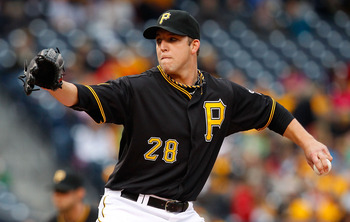PITTSBURGH - MAY 06:  Paul Maholm #28 of the Pittsburgh Pirates pitches against the Houston Atros during the game on May 6, 2011 at PNC Park in Pittsburgh, Pennsylvania.  (Photo by Jared Wickerham/Getty Images)