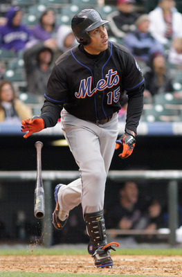 DENVER, CO - MAY 12:  Carlos Beltran #15 of the New York Mets watches his third home run of the game off of Matt Lindstrom of the Colorado Rockies in the ninth inning at Coors Field on May 12, 2011 in Denver, Colorado. Beltran had three homeruns and six R