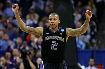CHARLOTTE, NC - MARCH 20:  Isaiah Thomas #2 of the Washington Huskies reacts while taking on the North Carolina Tar Heels during the third round of the 2011 NCAA men's basketball tournament at Time Warner Cable Arena on March 20, 2011 in Charlotte, North