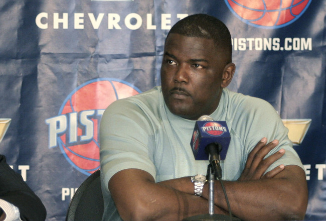 AUBURN HILLS, MI - JULY 21:  Flip Saunders (L), new Detroit Piston Head Coach, and  Piston's President Joe Dumars (R) attend a press conference at the Palace of Auburn Hills on July 21, 2005 in Auburn Hills, Michigan. Saunders, who had a 411-326 record as