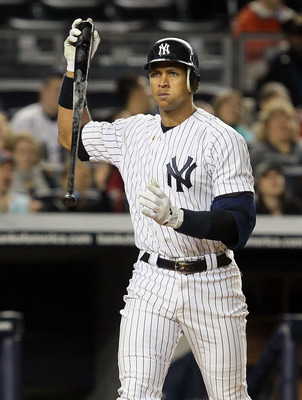 NEW YORK, NY - MAY 14:  Alex Rodriguez #13 of the New York Yankees strikes out to end the third inning against the Boston Red Sox heads back to the dugout on May 14, 2011 at Yankee Stadium in the Bronx borough of New York City.  (Photo by Jim McIsaac/Gett
