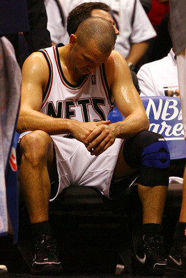 EAST RUTHERFORD, NJ - MAY 18:  Jason Kidd #5 of the New Jersey Nets sits on the bench towards the end of the game against the Cleveland Cavaliers during Game Six of the Eastern Conference Semifinals during the 2007 NBA Playoffs on May 18, 2007 at the Cont