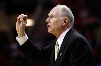 CLEVELAND, OH - MARCH 20: Head coach Jim Larranaga of the George Mason Patriots gestures from the bench during the first half against the Ohio State Buckeyes during the third of the 2011 NCAA men's basketball tournament at Quicken Loans Arena on March 20,