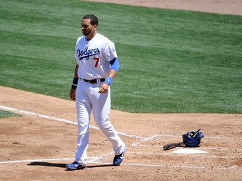 LOS ANGELES, CA - MAY 01:  James Loney #7 of the Los Angeles Dodgers walks off home plate after his strikeout to end the second inning against the San Diego Padres at Dodger Stadium on May 1, 2011 in Los Angeles, California.  (Photo by Harry How/Getty Ima