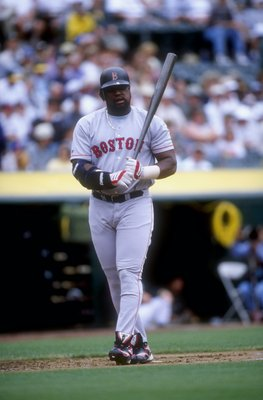 30 Jul 1998:  Infielder Mo Vaughn #42 of the Boston Red Sox in action during a game against the Oakland Athletics at the Oakland Coliseum in Oakland, California. The Athletics defeated the Red Sox 6-5. Mandatory Credit: Otto Greule Jr.  /Allsport