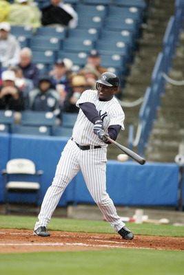 TAMPA, FL - MARCH 3:  Designated hitter Ruben Sierra #28 of the New York Yankees swings at a Pittsburgh Pirates pitch during their Pre Season opening game on March 3, 2005 at Legends Field in Tampa, Florida. The game ended in a 2-2 tie. (Photo by Al Bello
