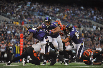 BALTIMORE, MD - JANUARY 2:  Ray Rice #27 of the Baltimore Ravens scores his team's only touchdown against the Cincinnati Bengals  at M&T Bank Stadium on January 2, 2011 in Baltimore, Maryland. The Ravens defeated the Bengals 13-6. (Photo by Larry French/G