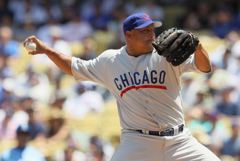 LOS ANGELES, CA - MAY 04:  Carlos Zambrano #38 of the Chicago Cubs pitches against the Los Angeles Dodgers at Dodger Stadium on May 4, 2011 in Los Angeles, California.  (Photo by Jeff Gross/Getty Images)