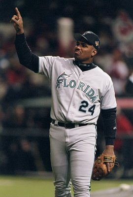 21 Oct 1997:  Third baseman Bobby Bonilla of the Florida Marlins in action during the third game of the World Series against the Cleveland Indians at Jacobs Field in Cleveland, Ohio.  The Marlins won the game 14-11. Mandatory Credit: Brian Bahr  /Allsport