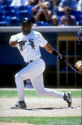 16 July 1998:   Albert Belle #8 of the Chicago White Sox starts to run during a game against the Toronto Blue Jays at Cromisky Park in Chicago, Illinois. The Blue Jays defeated the White Sox 5-2. Mandatory Credit: Jonathan Daniel  /Allsport