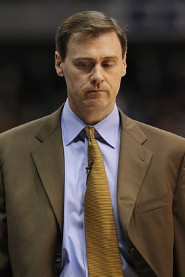 DALLAS - APRIL 18:  Head coach Rick Carlisle of the Dallas Mavericks in Game One of the Western Conference Quarterfinals during the 2010 NBA Playoffs at American Airlines Center on April 18, 2010 in Dallas, Texas. NOTE TO USER: User expressly acknowledges