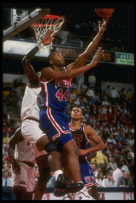 1993:  Forward Derrick Coleman of the New Jersey Nets goes up for the ball during a game versus the Denver Nuggets at the McNichols Sports Arena in Denver, Colorado. Mandatory Credit: Tim DeFrisco  /Allsport Mandatory Credit: Tim DeFrisco  /Allsport