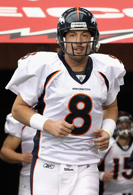 GLENDALE, AZ - DECEMBER 12:  Quarterback Kyle Orton #8 of the Denver Broncos runs out onto the field before the NFL game against the Arizona Cardinals at the University of Phoenix Stadium on December 12, 2010 in Glendale, Arizona.  (Photo by Christian Pet