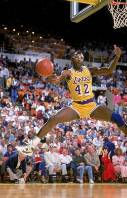 Apr 1988: James Worthy #42 of the Los Angeles Lakers makes a save during the NBA Playoffs against the San Antonio Spurs.   Mandatory Credit: Mike Powell  /Allsport