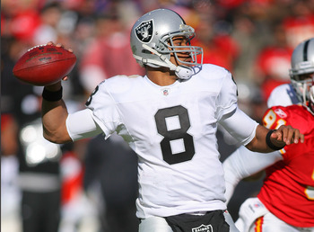 KANSAS CITY, MO - JANUARY 02:  Quarterback Jason Campbell #8 of the Oakland Raiders throws a pass in a game against the Kansas City Chiefs at Arrowhead Stadium on January 2, 2011 in Kansas City, Missouri.  (Photo by Tim Umphrey/Getty Images)