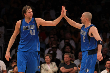 LOS ANGELES, CA - MAY 04:  Dirk Nowitzki #41 and Jason Kidd #2 of the Dallas Mavericks celebrate late in the fourth quarter while taking on the Los Angeles Lakers in Game Two of the Western Conference Semifinals in the 2011 NBA Playoffs at Staples Center