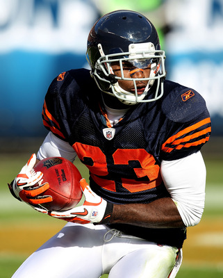 CHICAGO - NOVEMBER 14: Devin Hester #23 of the Chicago Bears fields a kick against the Minnesota Vikings at Soldier Field on November 14, 2010 in Chicago, Illinois. The Bears defeated the Vikings 27-13. (Photo by Jonathan Daniel/Getty Images)
