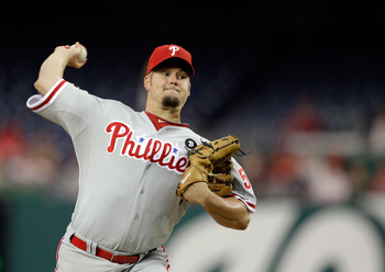 WASHINGTON, DC - APRIL 12: Pitcher Joe Blanton #56 of the Philadelphia Phillies delivers to a Washington Nationals batter at Nationals Park on April 12, 2011 in Washington, DC. (Photo by Rob Carr/Getty Images)