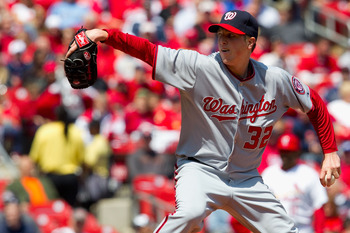 ST. LOUIS, MO - APRIL 21: Starter Tom Gorzelanny of the Washington Nationals pitches against the St. Louis Cardinals at Busch Stadium on April 21, 2011 in St. Louis, Missouri.  (Photo by Dilip Vishwanat/Getty Images)