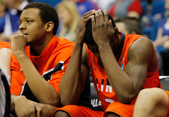 TULSA, OK - MARCH 20:  Brandon Paul #3 and Jereme Richmond #22 of the Illinois Fighting Illini sit on the bench in the final moments of their 59-73 loss to the Kansas Jayhawks in the third round of the 2011 NCAA men's basketball tournament at BOK Center o