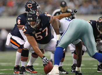 ARLINGTON, TX - SEPTEMBER 19:  Center Olin Kreutz #57 of the Chicago Bears at Cowboys Stadium on September 19, 2010 in Arlington, Texas.  (Photo by Ronald Martinez/Getty Images)