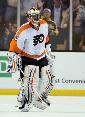 BOSTON, MA - MAY 04:  Brian Boucher #33 of the Philadelphia Flyers is pulled from the game in the second period against the Boston Bruins  in Game Three of the Eastern Conference Semifinals during the 2011 NHL Stanley Cup Playoffs at TD Garden on May 4 ,