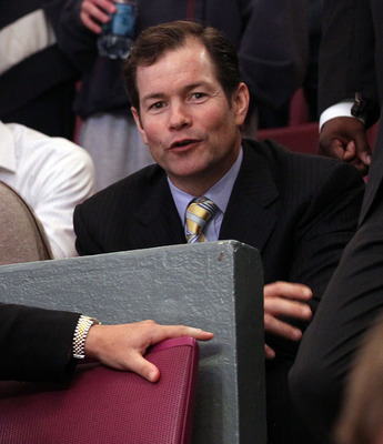 NEW YORK, NY - APRIL 20:  Former New York Rangers goalie Mike Richter watches the Rangers play against the Washington Capitals in Game Four of the Eastern Conference Quarterfinals during the 2011 NHL Stanley Cup Playoffs at Madison Square Garden on April