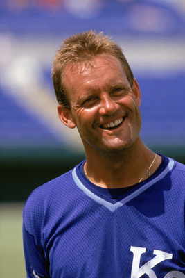 1986:  George Brett of the Kansas City Royals smiles in practice before a MLB game in the 1986 season. (Photo by: Rick Stewart/Getty Images)