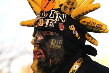 PITTSBURGH, PA - JANUARY 23:  Pittsburgh Steelers fan Don Galla of Hagerstown, Maryland poses for a photo prior to their 2011 AFC Championship game against the New York Jets at Heinz Field on January 23, 2011 in Pittsburgh, Pennsylvania.  (Photo by Ronald
