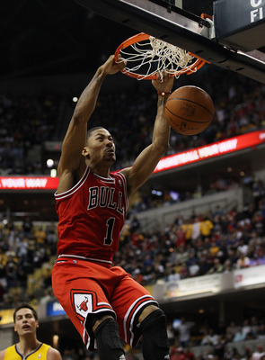 INDIANAPOLIS, IN - APRIL 23: Derrick Rose #1 of the Chicago Bulls dunks the ball against the Indiana Pacers in Game Four of the Eastern Conference Quarterfinals in the 2011 NBA Playoffs at Conseco Fieldhouse on April 23, 2011 in Indianapolis, Indiana. NOT
