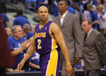 DALLAS, TX - MAY 06:  Guard Derek Fisher #2 of the Los Angeles Lakers leaves the court after a 98-92 loss against the Dallas Mavericks in Game Three of the Western Conference Semifinals during the 2011 NBA Playoffs on May 6, 2011 at American Airlines Cent
