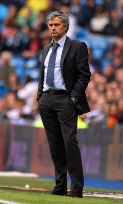 MADRID, SPAIN - APRIL 30:  Jose Mourinho, coach of Real Madrid looks on during the La Liga match between Real Madrid and Real Zaragoza at Estadio Santiago Bernabeu on April 30, 2011 in Madrid, Spain.  (Photo by Julian Finney/Getty Images)